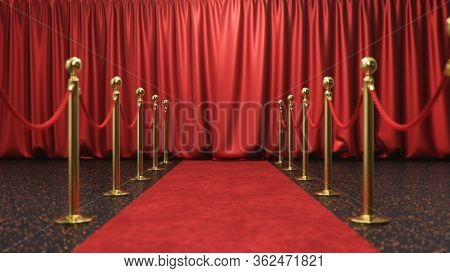 Awards Show Background With Closed Red Curtains. Red Velvet Carpet Between Golden Barriers Connected