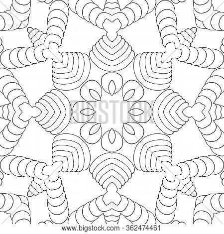 Simple Coloring Page For Kids And Adults. Seamless Pattern, Symmetric Ornament, Mandala, Kaleidoscop