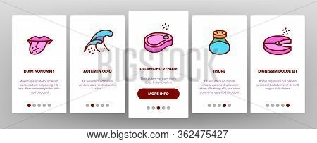 Salt Flavoring Cooking Onboarding Icons Set Vector. Salt On Human Tongue And In Bowl, Fish And Meat,