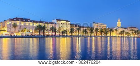 Panoramic View Of Famous Palace Of The Emperor Diocletian And Shore Of Adriatic Sea In Split At Nigh