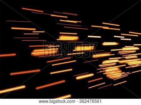 Realistic Gold Glowing Flying Comets On Black Copy Space. Falling Meteorites Light In Dark Galaxy. M
