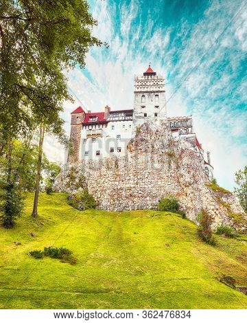Landscape With Medieval Bran Castle Known For The Myth Of Dracula. Bran Or Dracula Castle In Transyl