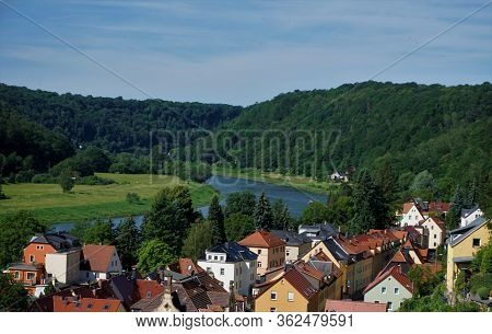 View Over The Elbe River And Residential Homes In Stadt Wehlen, Germany