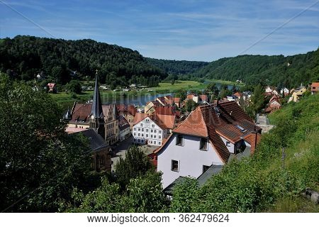 View Over The Market Square And The City Stadt Wehlen With Elbe River In Saxon Switzerland, Germany