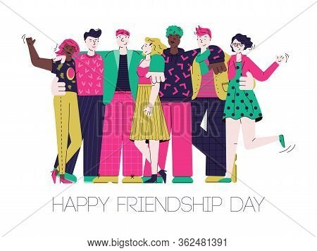Happy Friendship Day Card With Cartoon Friend Group Hugging.