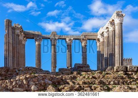 The Roman Temple Of Evora (templo Romano De Évora) Famous Historical Landmark In Alentejo, Portugal