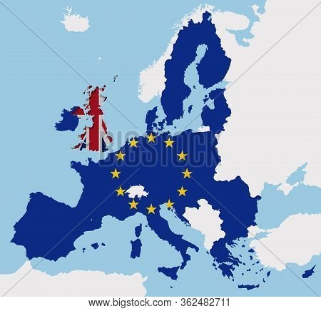 Brexit Uk And Eu Map Flags Europe Cut Out Fx