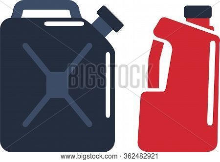 Motor Oils And Gassoline Blank Jerrycan Canister Icon In Flat Style. Vector Simple Illustration Of D