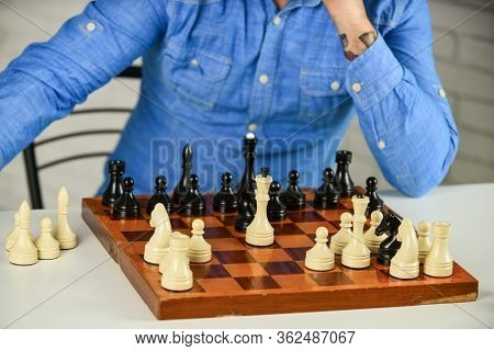 Intellectual Hobby. Figures On Wooden Chess Board. Thinking About Next Step. Development Logics. Che