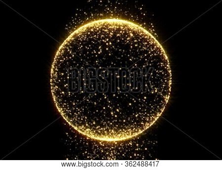 Gold glitter circle with glittering light shine sparkles frame on black background for Christmas holiday. Abstract magic glow of shimmering confetti and firework glittering sparks trail