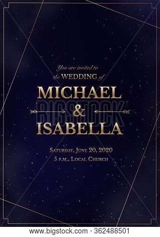 Wedding Invitation Vertical Card On Magic Night Dark Blue Sky With Sparkling Stars And Nebula. Vecto