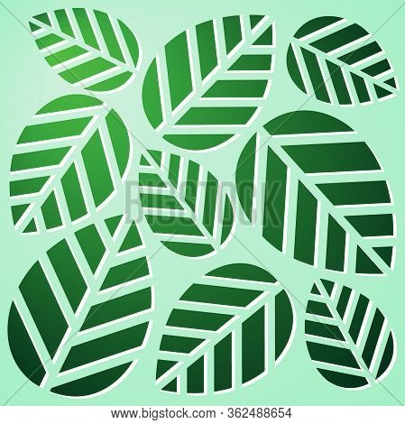 Carved Green Leaves On Mint Background. Stencil With Floral Theme. Template For Paper Cut. Vector Il