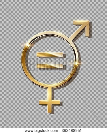 Mars Venus And Equally Signs On Transparent Backdrop. Male And Female Gender Equality Symbol. Concep