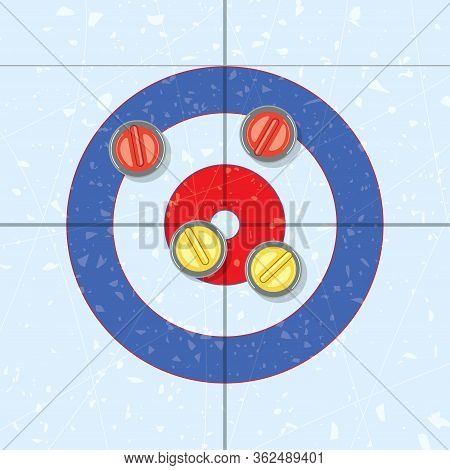 Vector Red And Yellow Curling Stones In The House, On Ice Rink. Curling Sport Game Background. Team