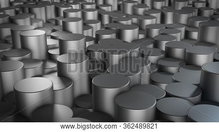3d Rendering Of Abstract Cylindrical Geometric Metallic Surfaces In Virtual Space. Randomly Placed G