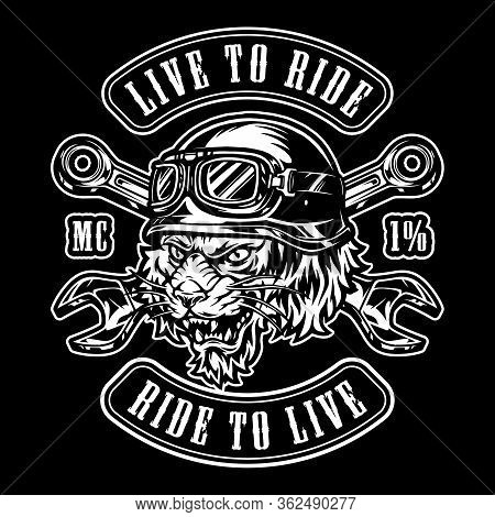 Animal Moto Rider Vintage Emblem With Crossed Spanners And Ferocious Tiger Head In Biker Helmet Isol