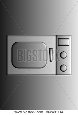 Vector Image Of A Household Microwave With Place For Text. Household Appliances. Microwave. Place Fo