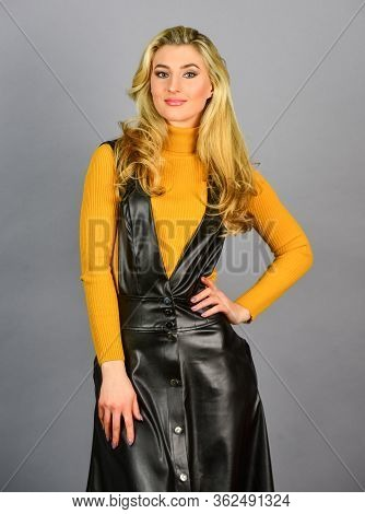 Merging Style With Elegance. Sexy Girl. Fashionable Woman In Tight Leather Latex Dress. Sexy Fashion