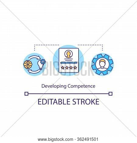 Developing Competence Concept Icon. Learn New Knowledge. Improve Intelligence For Career. Profession
