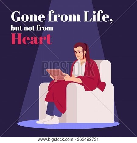 Gone From Life But Not From Heart Social Media Post Mockup. Grief. Advertising Web Banner Design Tem