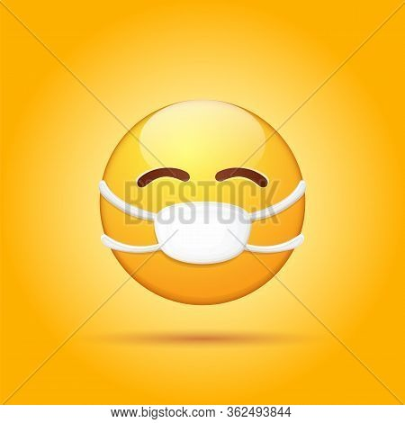 Vector Emoji Sticker With Mouth Medical Protection Mask Isolated On Orange Background. Yellow Smile