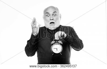 Senior Man White Beard. Senior Timekeeper. Counting Time. Lifetime Ageing And Getting Older. Time Do