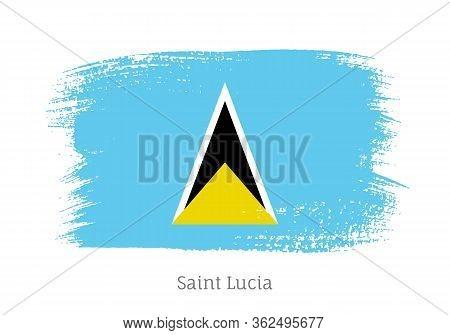 Saint Lucia Caribbean Island Official Flag In Shape Of Paintbrush Stroke. National Identity Symbol F