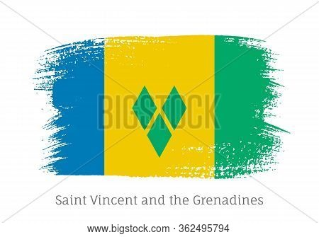 Saint Vincent And The Grenadines Caribbean Islands Official Flag In Shape Of Paintbrush Stroke. Nati