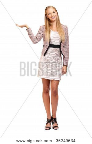 Sexy Business Woman Holding Something On Her Palm