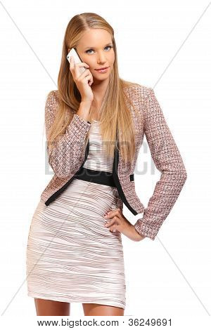 Sexy Boss Making A Call On White Background