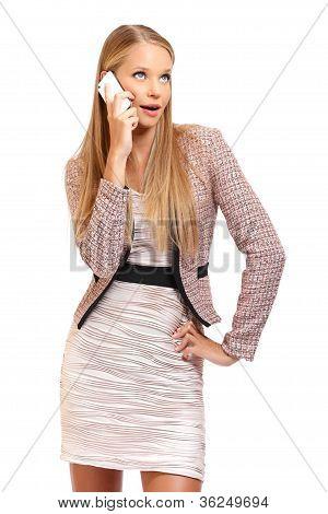 Nice Blonde Employe Making A Phonecall