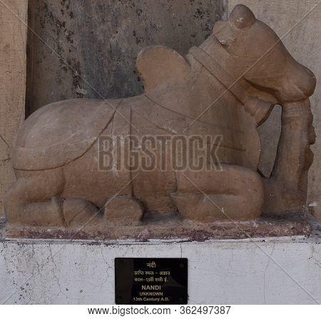 Gwalior, Madhya Pradesh/india - March 15, 2020 : Sculpture Of Nandi In Gwalior Fort