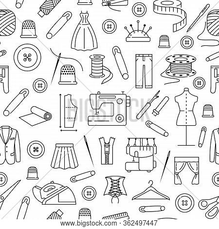 Seamless Pattern With Flat Line Icons Of Sewing. Background For Sewing Atelier, Workshop. Clothing R