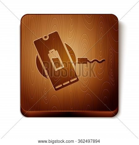 Brown Smartphone Charging On Wireless Charger Icon Isolated On White Background. Charging Battery On