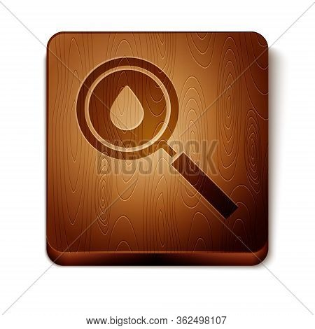 Brown Oil Drop Icon Isolated On White Background. Geological Exploration, Geology Research. Wooden S