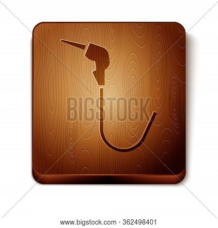 Brown Gasoline Pump Nozzle Icon Isolated On White Background. Fuel Pump Petrol Station. Refuel Servi