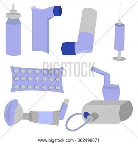 Set Of Objects For The Treatment Of Asthma. Inhalers, Spicer And Nebulizer. Pills And Injections. Bl