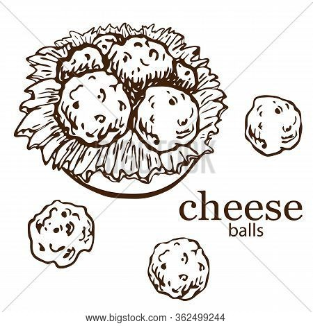 Hand Drawn Illustration Of Cheese Balls With Lettuce On Plate Isolated On White. Bar Or Pub Snack. S