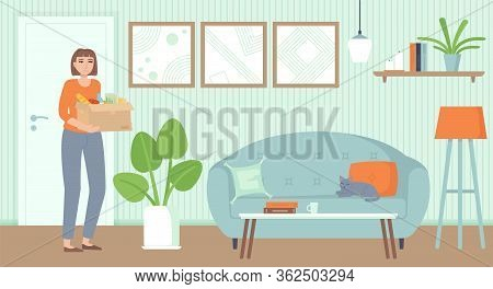 Girl Unboxing Food Package. Contactless Delivery, Online Ordering Concept. Stock Vector Illustration