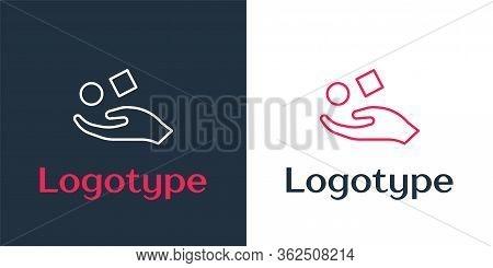 Logotype Line Cube Levitating Above Hand Icon Isolated On White Background. Levitation Symbol. Logo