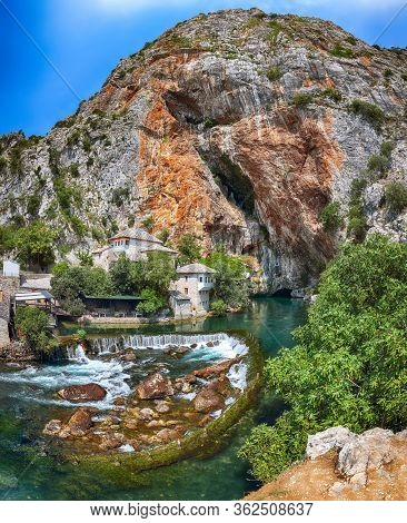 Dervish Monastery Or Tekke At The Buna River Spring In The Town Of Blagaj. Location: Blagaj, Mostar