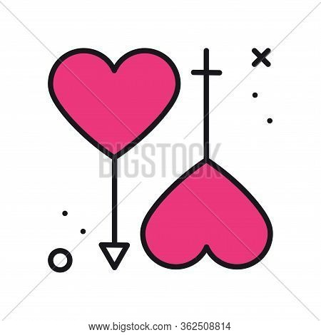 Gender Equality Symbols. Gender Love Equal Icon In Line Style. Men And Women. Female, Male, Couple,