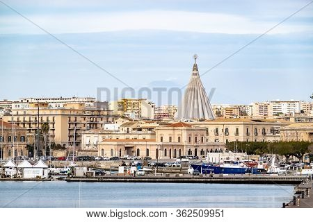 Siracusa, Sicily - February 13, 2020: Cityscape With Beata Maria Vergine Delle Lacrime Cathedral Wit