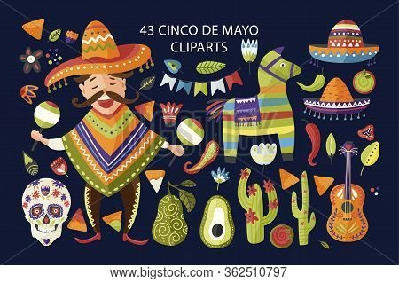 Cinco De Mayo Vector Colorful Clipart Set. Holiday Mexican Icon Collection With Cartoon Happy Man Wi