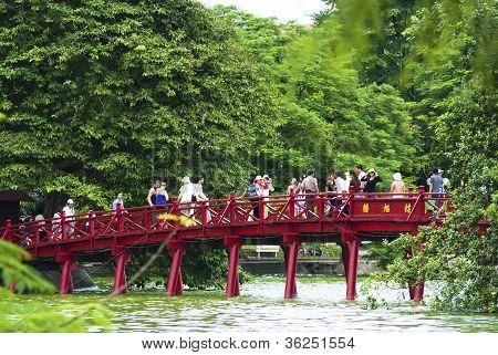 Huc Bridge Over Hoan Kiem Lake