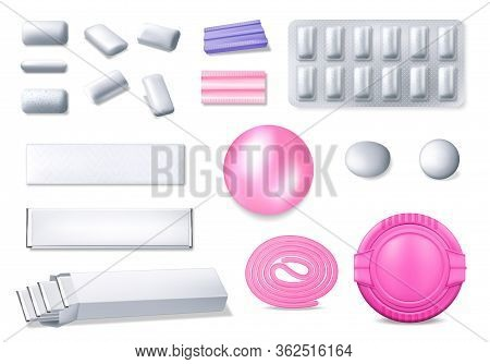 Chewing Gum Realistic 3d Vector Set. Isolated Bubble Gum In Foil Packages, Blister And Plastic Box.