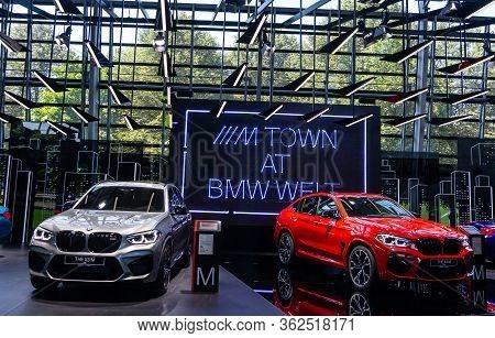Grey Bmw X3m And Red Bmw X4m. Bmw Welt, Munich, Germany, March 2020