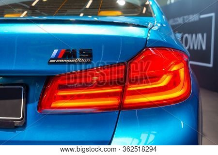 Bmw M5 Competition Logo And Rear Light.bmw Welt, Munich, Germany, March 2020