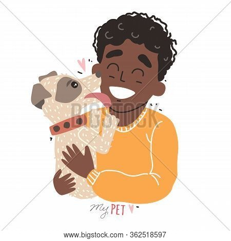 Two Best Friends - Black African American Boy And His Dog