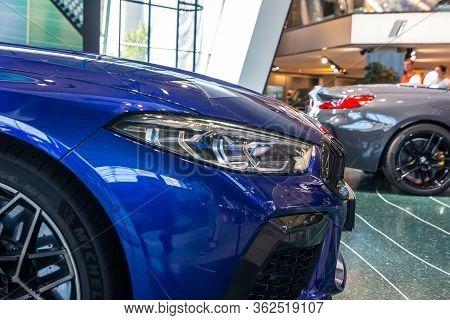 Blue Bmw M8. Bmw Welt, Munich, Germany, March 2020